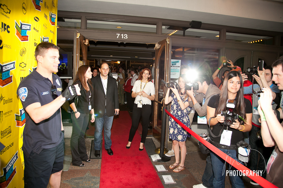 Channing Tatum in front of Step and Repeat