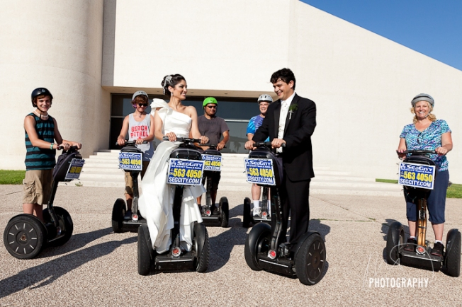 The segways stopped by... we asked if the Bride and Groom could hop on one...