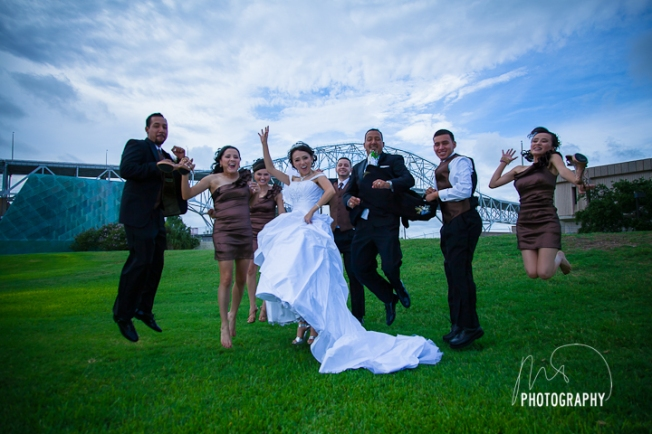 "My first ""jumping"" bridal party portrait. This is actually take one (out of two) too!"