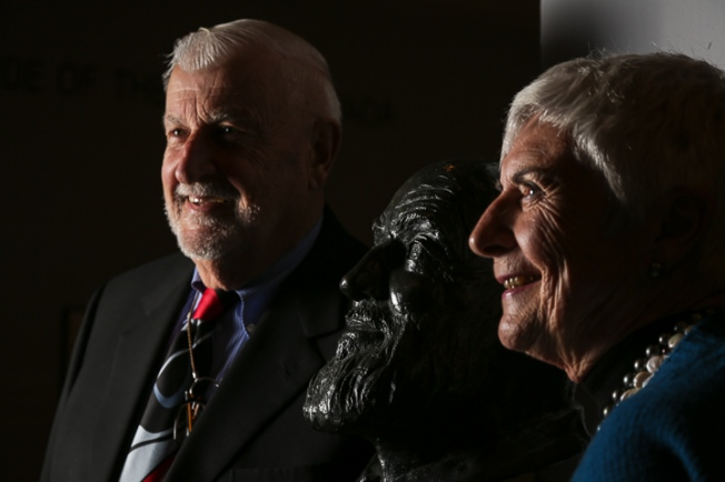 Micah DeBenedetto/Special to the Caller-Times Dr. Michael Adams, bust of Ansel Adams (middle), and Jeanne Falk Adams